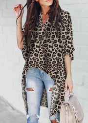 Casual V-neck Leopard Long Sleeve Blouses