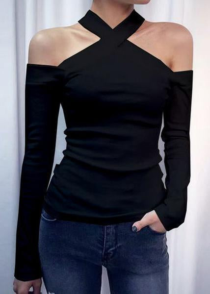 Halter Solid Off Shoulder Long Sleeve Blouses T-shirt