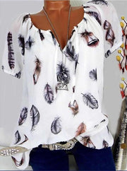 Loose Feather Print V-Neck Short-Sleeved T-Shirt