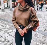 Plain High Neck Long Sleeve Loose Sweaters