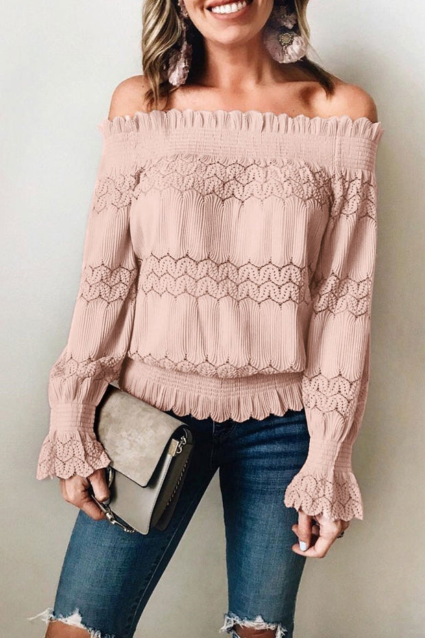 Off Shoulder Solid Hollow Out Long Sleeve Blouses