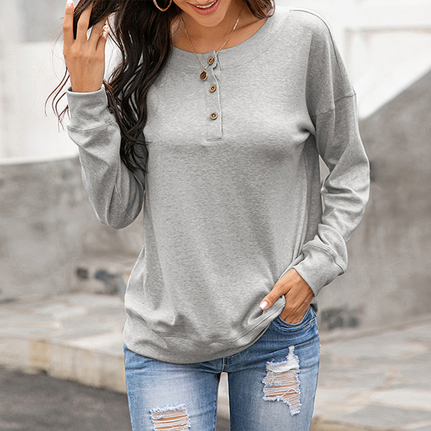 The New Round neck button long sleeve casual T-shirt