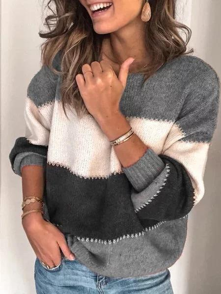 Striped Color Block Long Sleeve Round Neck  Sweater