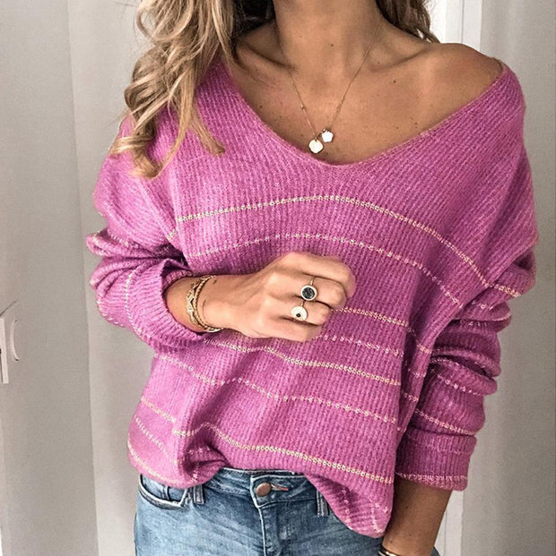 Casual Striped Solid Color Long Sleeve V Neck Sweater