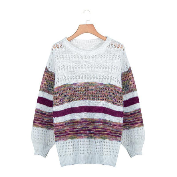 Round neck loose stripe print long sleeve knit sweater