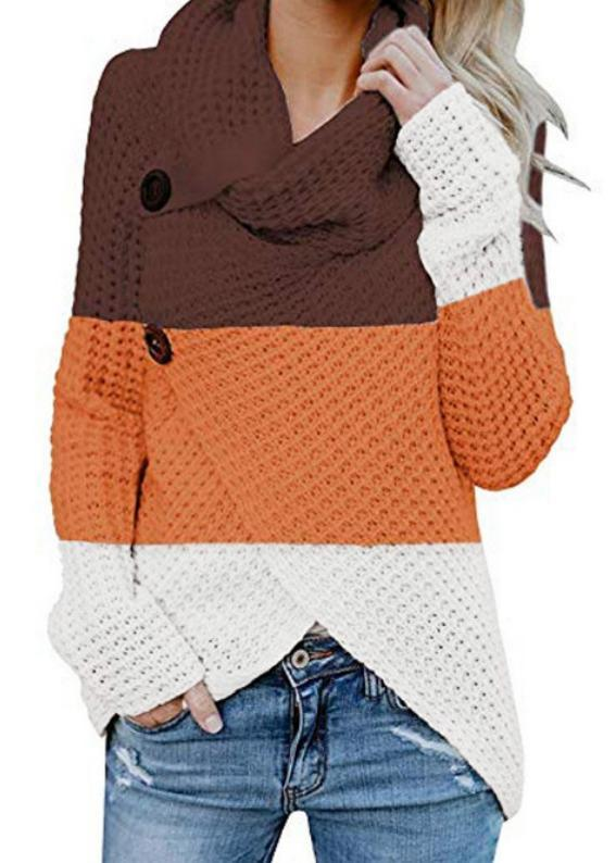 High Collar Color Block Long Sleeve Button Sweaters