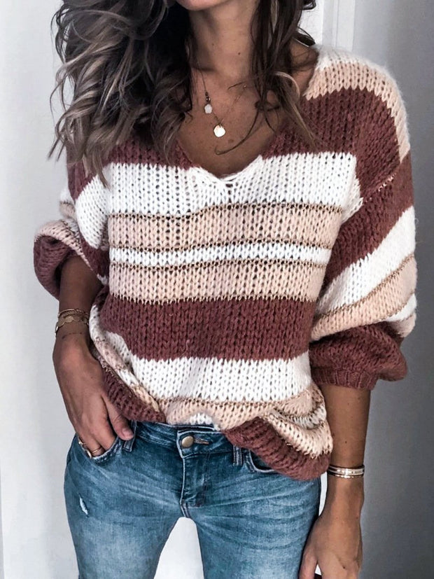 Striped Color Block Printed Long Sleeve V Neck Sweater