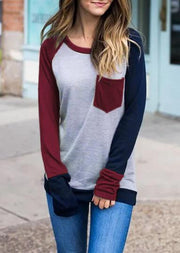 Color Block Pocket Long Sleeve Baseball T-Shirt Tee