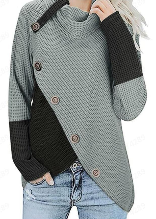 High Collar Color Block Button Splice Long Sleeve Sweater