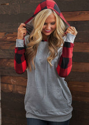 Casual Plaid Splice Long Sleeve Hoodies