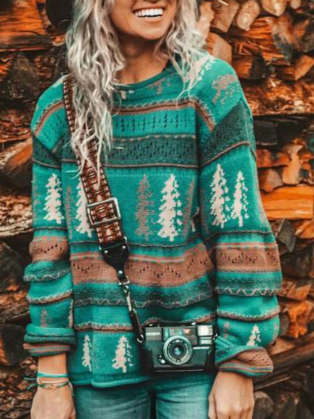 2020 new sweater tops Christmas casual print crew neck pullover sweater