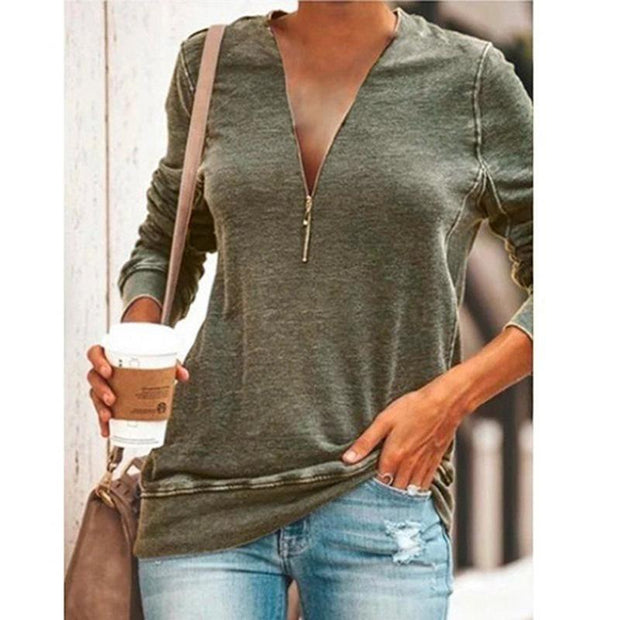 Casual Zipper Solid Long Sleeve T-shirt