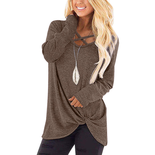 Solid color round neck cross-knot long-sleeved T-shirt
