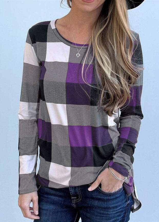Casual Round Collar Plaid Long Sleeve T-Shirt