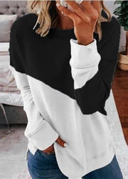 Round Collar Color Block Splice Long Sleeve T-Shirt