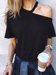 T-shirt solid color short-sleeved hanging neck off-shoulder top