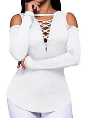Lace Deep V Long Sleeve Bottoming Shirt European and American T-shirt