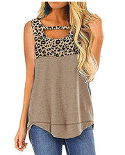 Hollow Out Vest Leopard Print Casual Top