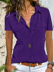 Solid Color Deep V-Neck Slim Shirt