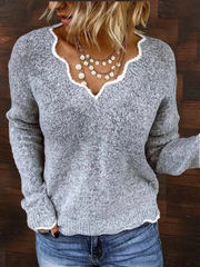 New Women's Solid Color V-neck Long Sleeve Knit Sweater
