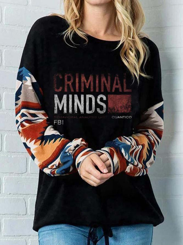 Women's Criminal Minds Behavioral Analysis Unit Quantico FBI Arm Print Sweatshirt
