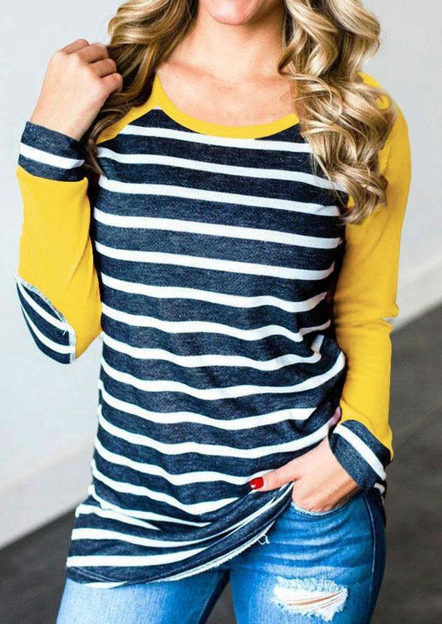 Striped Elbow Patch Baseball Long sleeve T-Shirt