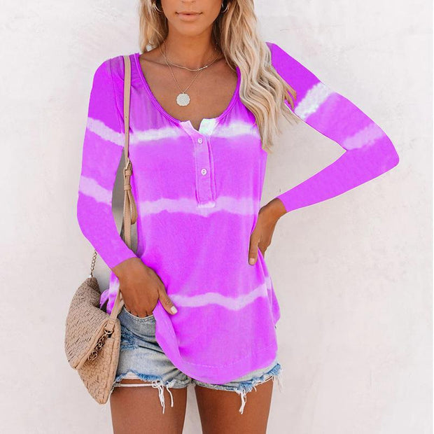 Button Tie Dye Large Size Long Sleeve T-Shirt