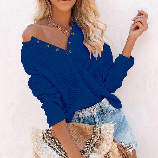 V-neck solid color sexy fashion casual women's clothing