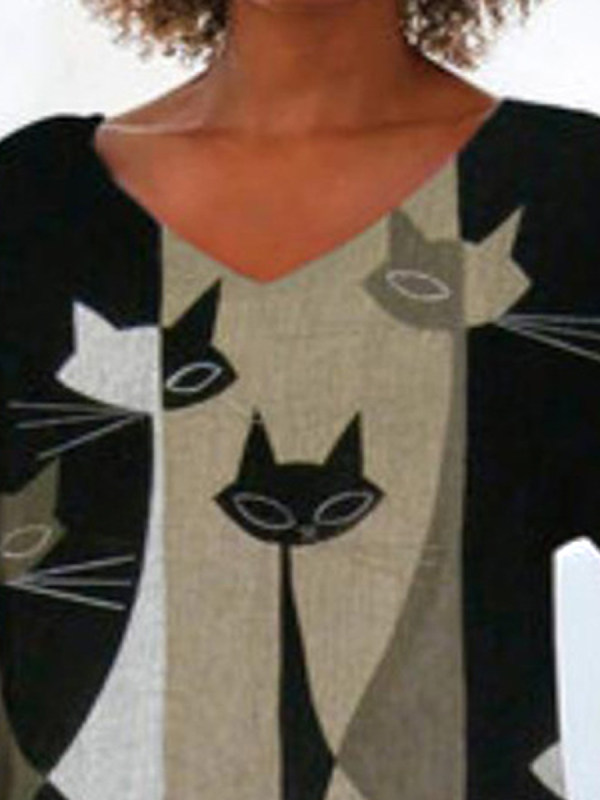 Cat Print Irregular Hem T-shirt