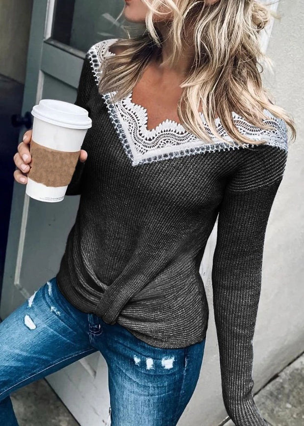 V-neck Solid Lace Panel Long Sleeve T-shirt