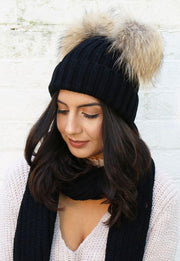 Ladies Knitted Double Ball Wool Hat