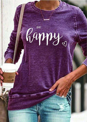 Women'S Round Neck Long Sleeve Pullover Casual Letter Printing Sweater