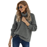 Pure color warm loose pullover knitted sweater