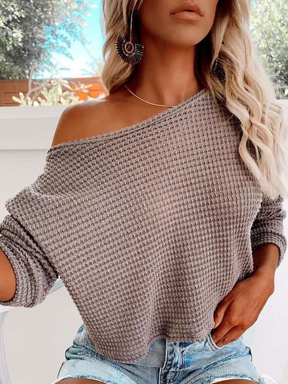 2020 Oblique shoulder long sleeve plus size knitted fashion sweater