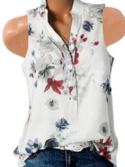 Sleeveless Flower Print Shirt T-Shirt