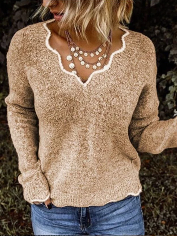 Women's Solid Color V-neck Long Sleeve Knit Sweater