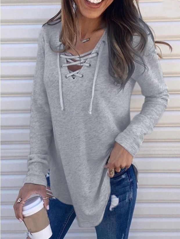 Casual Solid Crisscross Long sleeve Top