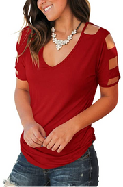 Women's Short Sleeve Cut Out Cold Shoulder Tops Deep V Neck T-Shirts