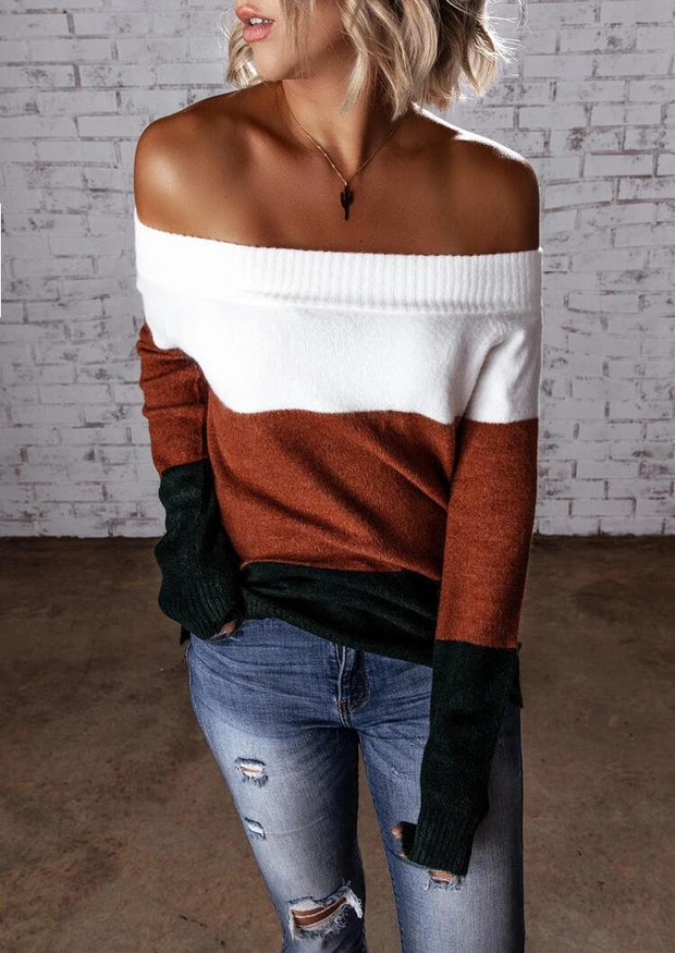 Color Block Off Shoulder Knitted Sweater