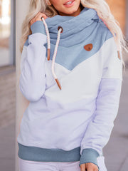 Long-sleeved multicolor stitching hooded sweatshirt
