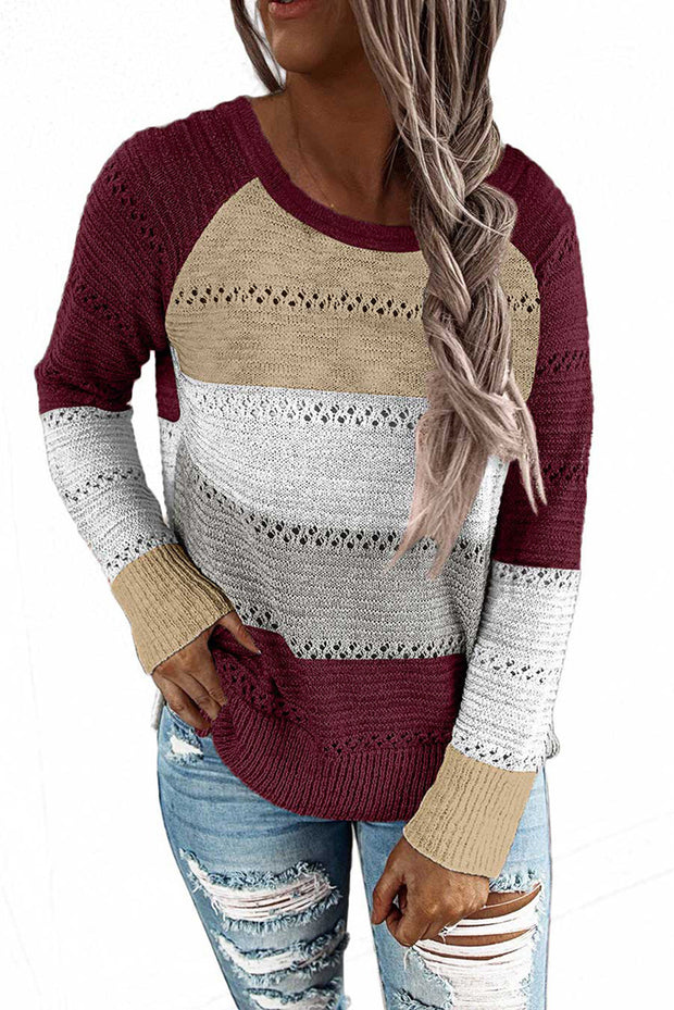 Hollow Out Knitted Lightweight Casual Long sleeve Sweater