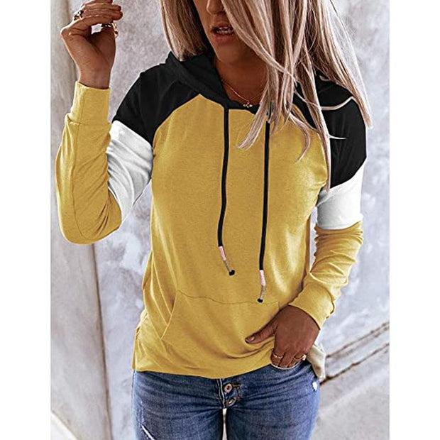 Oversized Hoodie Long Sleeve Color Block Splice Sweatshirt