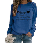 Wine glass letter print round neck long sleeve pullover sweater