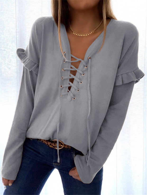 V-neck eyelet lace-up ruffled long-sleeved sweater top