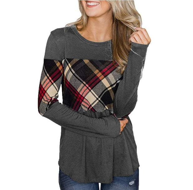 Round Collar Plaid Splice Long Sleeve T-shirt