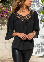V-neck Solid Lace Panel Three Quarter Length Sleeve Blouses