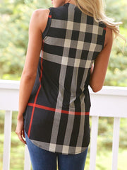 V Neck  Asymmetric Hem  Checkered T-Shirts