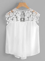 Round Neck  Decorative Lace See-Through Blouses