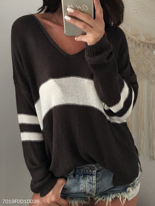 Knit Sweater  V-Neck Stripe Sweater