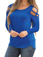 Solid Color Round Neck Strapless Long Sleeve T-Shirt